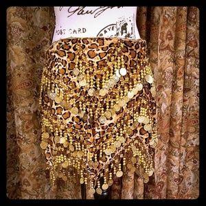 Bellydance Brushed Velvet Coin Hip Scarf Skirt